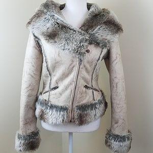 O & G Small Faux Fur Asymmetrical zip Jacket